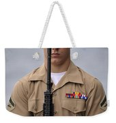 U.s. Marine Presents Arms During An Weekender Tote Bag