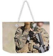 U.s. Marine Radios His Units Movements Weekender Tote Bag by Stocktrek Images