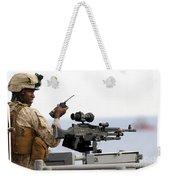 U.s. Marine Talks On A Radio While Weekender Tote Bag by Stocktrek Images