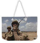 U.s. Marine Uses A Radio In Djibouti Weekender Tote Bag by Stocktrek Images
