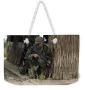 U.s. Marines Prepare To Enter A House Weekender Tote Bag by Stocktrek Images