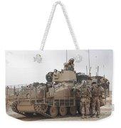 U.s. Marines Talk With A British Weekender Tote Bag by Stocktrek Images
