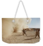U.s. Marines Walk Away From A Dust Weekender Tote Bag