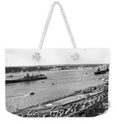U.s. Navy In The Hudson River Weekender Tote Bag
