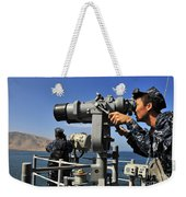 U.s. Navy Sailors Observe The Coastline Weekender Tote Bag