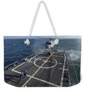 U.s. Navy Sailors Prepare To Attach Weekender Tote Bag