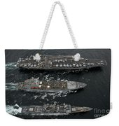 U.s. Navy Ships Conduct A Replenishment Weekender Tote Bag
