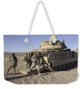 U.s. Soldiers Exit From An M2 Bradley Weekender Tote Bag