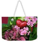 Valentine Heart And Flowers Weekender Tote Bag