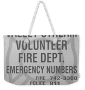 Valley Stream Fire Department In Black And White Weekender Tote Bag