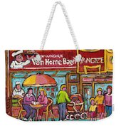 Van Horne Bagel Next To Yangste Restaurant Montreal Streetscene Weekender Tote Bag