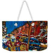Verdun Rowhouses With Hockey - Paintings Of Verdun Montreal Street Scenes In Winter Weekender Tote Bag