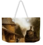 Victorian Woman At Train Station Weekender Tote Bag