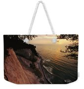 View Looking Down Cliffs At Sunset Weekender Tote Bag