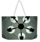 View Of 5 Bulb Chandelier Against A Decorated Ceiling From Underneath Weekender Tote Bag by Ashish Agarwal