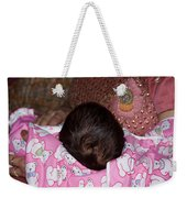View Of A Mother Holding Her Baby With Only The Hair On The Head Visible Weekender Tote Bag