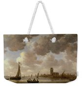 View Of Dordrecht Downstream From The Grote Kerk Weekender Tote Bag