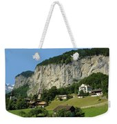 View Of Greenery And Waterfalls On A Swiss Cliff Weekender Tote Bag