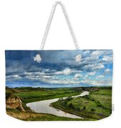 View Of River With Storm Clouds Weekender Tote Bag