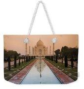 View Of Taj Mahal Reflecting In Pond Weekender Tote Bag