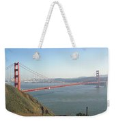 View Of The Golden Gate Bridge And San Francisco From A Distance Weekender Tote Bag