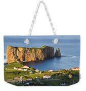 Village And Perce Rock At Sunset Weekender Tote Bag