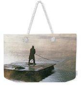Villager On Raft Crosses Lake Phewa Tal Weekender Tote Bag