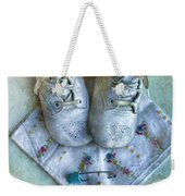 Vintage Baby Shoes And Diaper Pin On Handkercheif Weekender Tote Bag