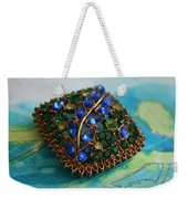 Vintage Blue And Green Rhinestone Brooch On Watercolor Weekender Tote Bag