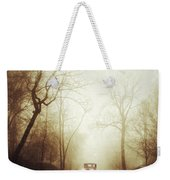 Vintage Car On Foggy Rural Road Weekender Tote Bag by Jill Battaglia