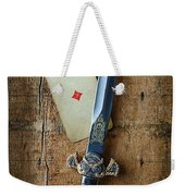 Vintage Dagger On Wood Table With Playing Card Weekender Tote Bag