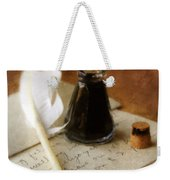 Vintage Letter And Quill Pen Weekender Tote Bag