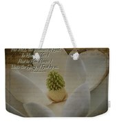Vintage Magnolia With Verse Weekender Tote Bag