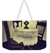 Vintage Table And Chairs By Oil Lamp Light Weekender Tote Bag by Jill Battaglia