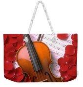 Violin On Sheet Music With Rose Petals Weekender Tote Bag