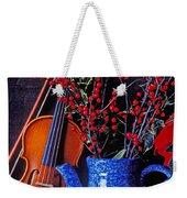 Violin With Blue Pot Weekender Tote Bag