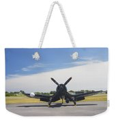 Vought F4u Corsair Fighter Plane On Runway Canvas Photo Poster Print Weekender Tote Bag