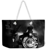 Waiting For More Coal Black And White Weekender Tote Bag
