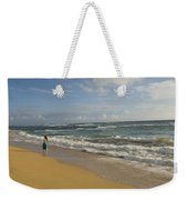 Walking In The Water At  Anahola Beach Weekender Tote Bag