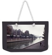 Walking The Dog Along The Seine Weekender Tote Bag
