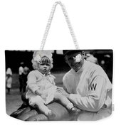 Walter Johnson Holding A Baby - C 1924 Weekender Tote Bag