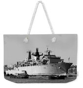 Warship Hms Bulwark Weekender Tote Bag by Jasna Buncic