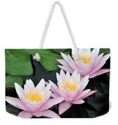 water lily 88 Sunny Pink Water Lily with Reflection Weekender Tote Bag