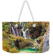 Waterfalls In Autumn Scenery Weekender Tote Bag