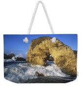 Wave Splashing Against Natural Arch Weekender Tote Bag