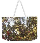 Wax Wing In A Berry Tree  Weekender Tote Bag