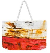 Weathered With Red Stripe Weekender Tote Bag by Silvia Ganora