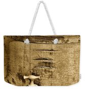 Weathered Wooden Bucket In Sepia Weekender Tote Bag by Paul Ward