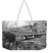 West Cornwall Connecticut Covered Bridge Black And White Weekender Tote Bag
