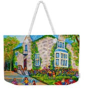 Westmount Birthday Party-montreal Urban Scene-little Girls Playing Weekender Tote Bag
